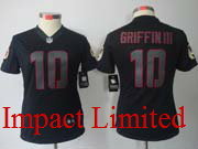 Women  Nfl Washington Redskins #10 Griffin Iii Griffin Iii Black Impact Limited Jersey