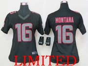 Women  Nfl San Francisco 49ers #16 Montana Black Impact Limited Jersey