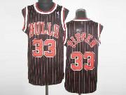 Mens Nba Chicago Bulls #33 Pippen Black Red&stripe Revolution 30 Mesh Jersey