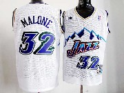 Mens Nba Utah Jazz #32 Malone White Snowberg Hardwood Throwback Jersesy