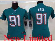 Women  Nfl Miami Dolphins #91 Wake Green (2013 New) Limited Jersey