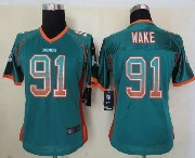 Women  Nfl Miami Dolphins #91 Wake Green Drift Fashion Elite Jersey