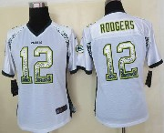 women  nfl Green Bay Packers #12 Aaron Rodgers white drift fashion elite jersey