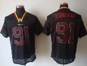 Mens Nfl Washington Redskins #91 Kerrigan Black (lights Out) Elite Jersey