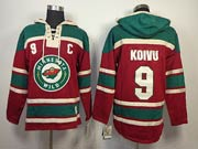 Mens nhl minnesota wild #9 koivu red c patch hoodie Jersey