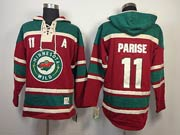 Mens nhl minnesota wild #11 parise red a patch hoodie Jersey