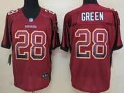 Mens Nfl Washington Redskins #28 Green Drift Fashion Red Elite Jersey