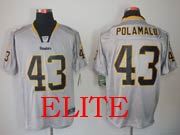 Mens Nfl Pittsburgh Steelers #43 Polamalu Gray (light Out) Elite Jersey