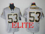 Mens Nfl Pittsburgh Steelers #53 Pouncey Gray (light Out) Elite Jersey