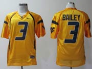 Mens Ncaa Nfl Virginia Mountaineers #3 Bailey Yellow Jersey