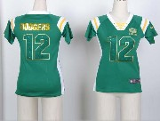 women  nfl Green Bay Packers #12 Aaron Rodgers green fashion rhinestone sequins jersey