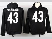 Mens Nfl Pittsburgh Steelers #43 Polamalu Black Hoodie Jersey