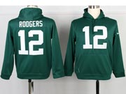 mens nfl Green Bay Packers #12 Aaron Rodgers green hoodie jersey