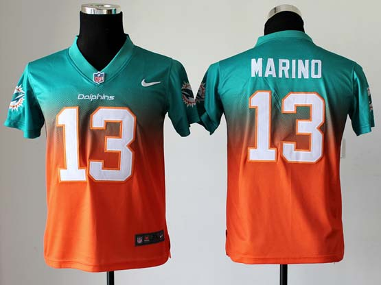 Youth Nfl Miami Dolphins #13 Marino Green∨ange Drift Fashion Ii Elite Jersey