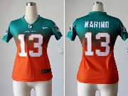 Women  Nfl Miami Dolphins #13 Marino Green∨ange Drift Fashion Ii Elite Jersey