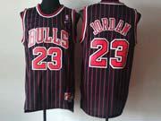Mens Nba Chicago Bulls #23 Jordan Black (red Stripe) Revolution 30 Jersesy (m)