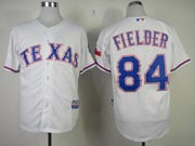Mens mlb texas rangers #84 fielder white Jersey