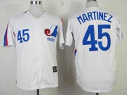 Mens mlb montreal expos #45 martinez white Jersey
