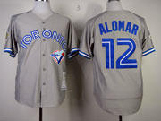 Mens Mitchell&ness Mlb Toronto Blue Jays #12 Roberto Alomar Throwbacks Gray Jersey