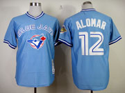 Mens Mitchell&ness Mlb Toronto Blue Jays #12 Roberto Alomar Light Blue Throwbacks Jersey