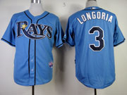 Mens mlb tampa bay rays #3 longoria light blue Jersey