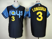 Mens mlb tampa bay rays #3 longoria dark blue (back 1970 version) Jersey