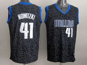 Mens Nba Dallas Mavericks #41 Nowitzki Black Leopard Grain Jersey