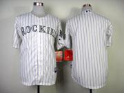 Mens mlb colorado rockies (blank) white (purple stripe) Jersey