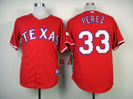 Mens mlb texas rangers #33 perez red Jersey
