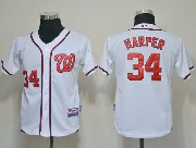 youth mlb washington nationals #34 bryce harper white Jersey