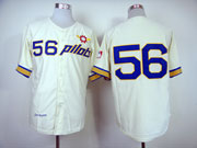 mens mlb seattle pilots #56 bouton cream throwbacks Jersey(no name)