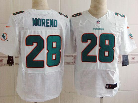 Mens Nfl Miami Dolphins #28 Moreno White (2013 New) Elite Jersey