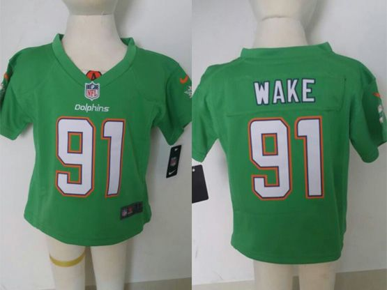Kids Nfl Miami Dolphins #91 Wake Green Jersey