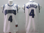 Mens Nba Sacramento Kings #4 Webber White Purple Number Mesh Jersey