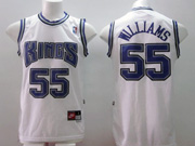 Mens Nba Sacramento Kings #55 Williams White Purple Number Mesh Jersey