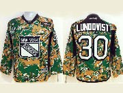 youth reebok nhl new york rangers #30 lundqvist (2014 green camo) Jersey