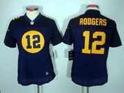 women  nfl Green Bay Packers #12 Aaron Rodgers blue(orange figure) limited jersey