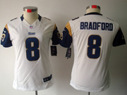 Women Nfl St.louis Rams #8 Bradford White Limited Jersey