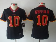 Women  Nfl Washington Redskins #10 Griffin Iii Black (red Number) Limited Jersey