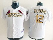Youth Mlb St.louis Cardinals #12 Berkman (gold Number) White Jersey