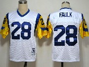 Mens nfl nfl st. louis rams #28 faulk white throwbacks Jersey