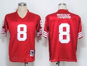 Mens nfl san francisco 49ers #8 young red throwbacks Jersey