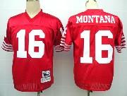 Mens nfl san francisco 49ers #16 montana red throwbacks Jersey