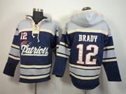mens nfl New England Patriots #12 Tom Brady blue (team hoodie) jersey