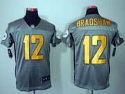 Mens Nfl Pittsburgh Steelers #12 Bradshaw Gray Shadow Elite Jersey