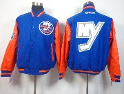 Mens Nhl New York Islanders Men Embroidered Cotton Button Blue Jacket