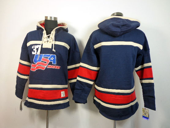 Mens nhl team usa blank dark blue hoodie Jersey