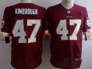 Mens Nfl Washington Redskins #47 Kimbrough Red (white Number) Elite Jersey