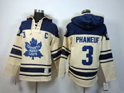 Mens nhl toronto maple leafs #3 phaneuf cream color 3rd c patch hoodie Jersey