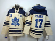 Mens nhl toronto maple leafs #17 clark cream color 3rd c patch hoodie Jersey